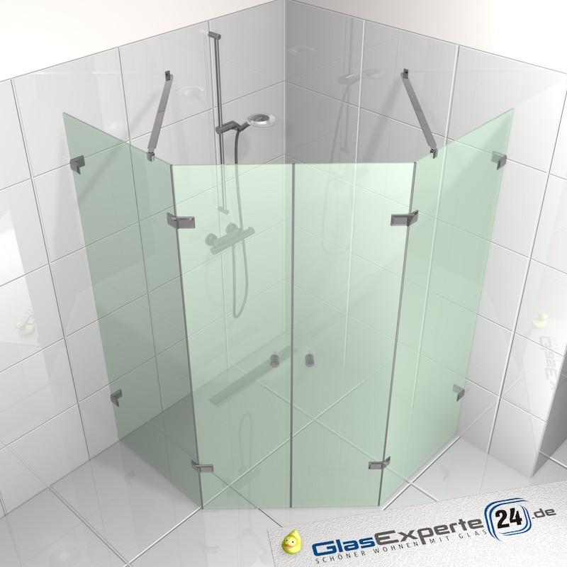 F nfeck dusche mit zwei t ren zwei festteilen for Design couchtisch satiniertes glas